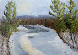Réjean Lacroix artiste, Rivière du Nord, Piedmont, Laurentides, Québec (pochade)