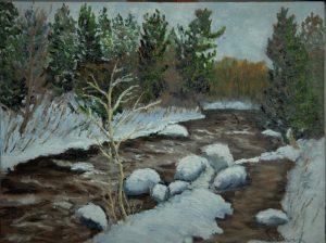 Réjean Lacroix artiste, Rivière Simon, St-Sauveur (pochade), Laurentides , Québec